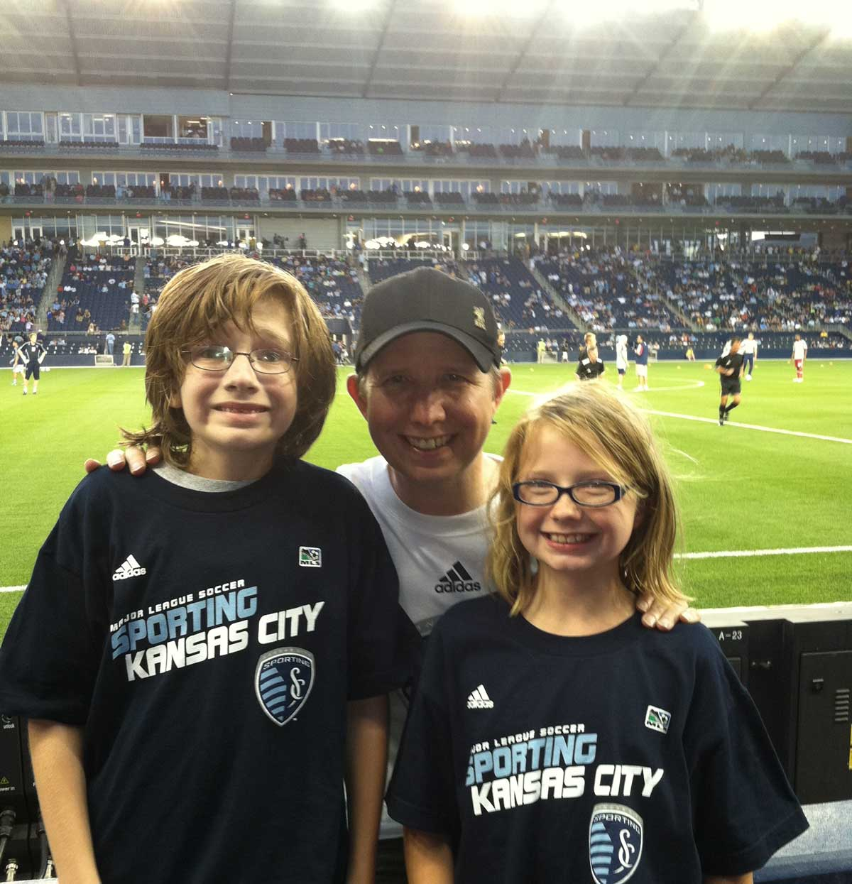 The author with his children at the match.